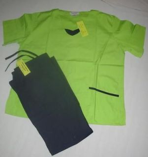 NWT Womens Nursing Uniform Scrub Set Lime Navy Trim ~ Choose Size XS