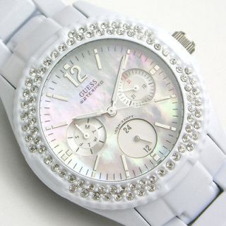 guess white rock candy swarovski fashion 3 eyes trend ladies watch 100