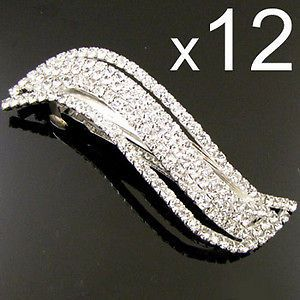 wholesale 12 clear rhinestone hair barrette clip bridal from china