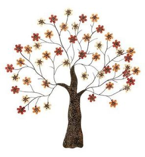 Large Contemporary Metal Tree Wall Decor w/ Flower Accents Art Plaque