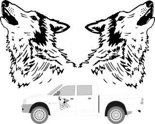 Large Howling Wolf Head Car Van Truck Motorhome 4x4 Pickup Sticker