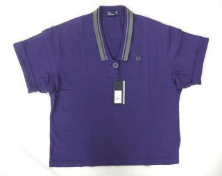 NEW FRED PERRY G6748 WOMENS BLUE OVERSIZED PIQUE POLO SHIRT BNWT