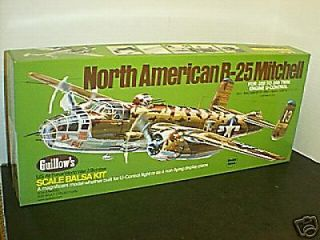 #805 WWII B 25J Mitchell Balsa wood Airplane model Kit New in box