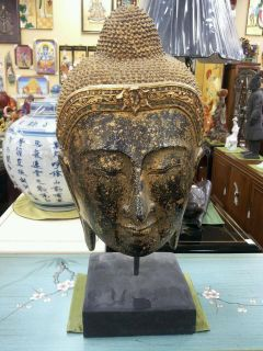 Buddha Head wood carving on stand with faded gold leaf Thailand