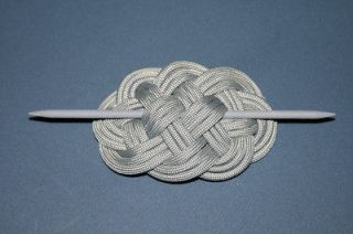 Silver Gray Paracord Ocean Plait Braid Hair Barrette with Wooden Dowel