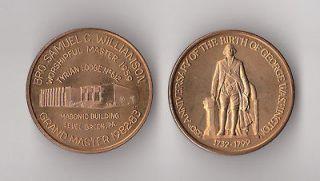 1982 masonic token coin george washington 1 1 2 time