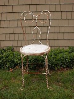 OLD WROUGHT IRON SPECTACLE BACK PATIO CHAIR GARDEN FURNITURE