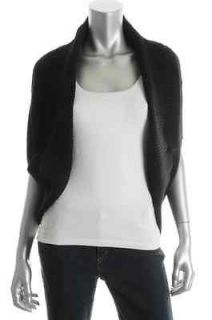 Wyatt NEW Black Cashmere Crop Open Front Cardigan Shrug Sweater Top XS