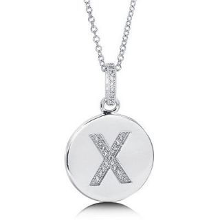 CUBIC ZIRCONIA STERLING SILVER INITIAL LETTER X PENDANT NECKLACE