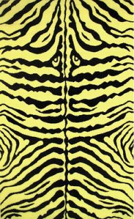 Rug Wild Animal Zebra Skin Safari Yellow & Black Actual Size 39x58
