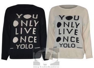 Womens Ladies Knitted Crew Neck Yolo You Only Live Once Jumper Top 8