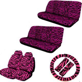 13 pc hot pink black zebra print car seat cover steering wheel belt