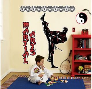 giant wall stickers MURAL 5 big decals KARATE Yin Yang self defense