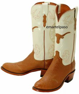 643 New Lucchese 1883 Cognac Smooth Ostrich Cowboy Boots Mens 7 5 D $