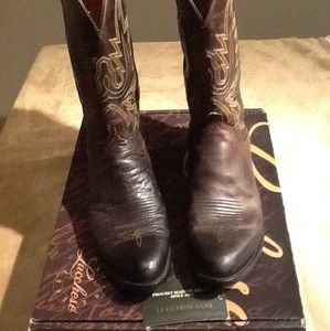 Mens 1883 by Lucchese Western Boots N1556 Chocolate Mad Dog Goat