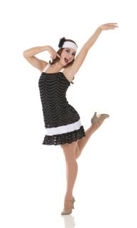 Teachers Roaring 20s Flapper Dress w Headband Halloween Dance Costume