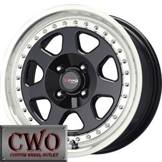 15 Black Drag Dr 27 Wheels Rims 4x100 4 Lug Civic Mini Miata Cobalt XB