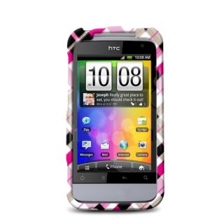 For HTC Droid Incredible 2 2D Case Check Pink Brown