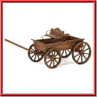 ft long wood garden yard patio lawn western turning wheel buckboard