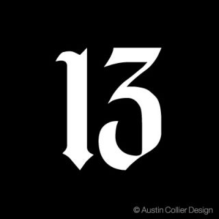 Number 13 Vinyl Decal Car Truck Sticker Lucky Gothic