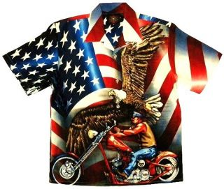 USA 4th of July Flag Eagle Biker Shirt Dragonfly
