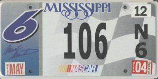 NASCAR Car License Plate Tag Mark Martin Number 6