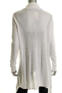 525 America White Long Sleeve Open Front Asymmetric Cardigan Sweater M