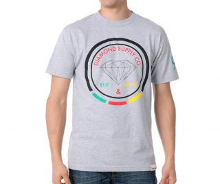 Diamond Supply Co Grey Red Yellow Green Black T Shirt Rise Shine Rasta