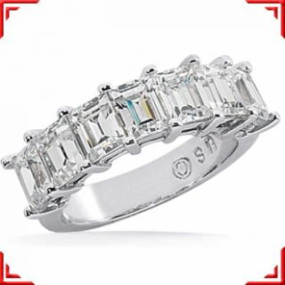 20 Carat 7 Emerald Cut Diamond Wedding Ring Platinum Anniversary