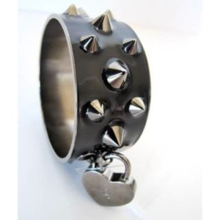 Alexander McQueen Punk Black Metal Spiked Cuff Bangle Bracelet Perfect