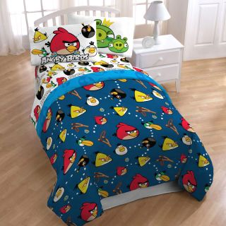 ANGRY BIRDS TWIN SHEET SET   Video Game Madness Sheets Accent Bedding