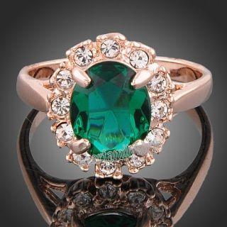 18k rose GOLD Gp Swarovski crystals Emerald vintage ring R186