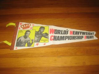 Vtg MUHAMMAD ALI vs JOE FRAZIER Boxing Pennant March 8 1971 CASSIUS
