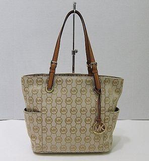 New Michael Kors E w Signature Jacquard Logo Tote Handbag