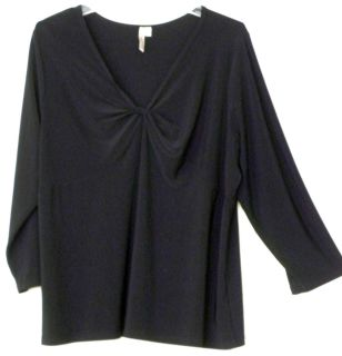 Susan Lawrence Woman Sz 3X 2X 1X Black Knit Top Shirt Tunic Knotted V