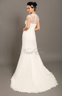 Line Cap Sleeve Chapel Train Lace Wedding Dress Gown
