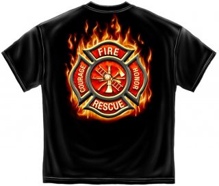 Flaming Maltese Cross Firefighter Black T Shirt Size XL