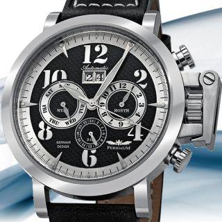 Perigaum P1115ASSSLE Mens Big Date Automatic Strap Watch