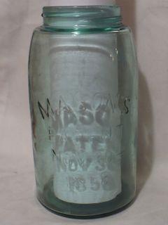 Vtg Antique Blue MASON Fruit Canning Quart Jar Patent Nov 30th 1858 CF