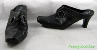 A2 Aerosoles Womens Snapezoid Mules Heels Shoes 8 5 B Black Leather
