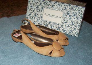 Marinelli Tan Suede Peep Toe Low Heel Slingbacks Flats Shoes 8 New
