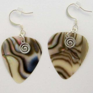 Abalone Colored Guitar Pick Dangle Earrings Great Gift