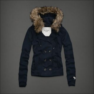 Abercrombie Women Meredith Navy Blue Faux Fur Button Hoodie Jacket