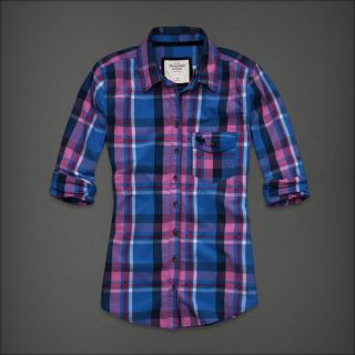Abercrombie Fitch Women Blue Plaid Button Down Shirt Top Kirstie Small