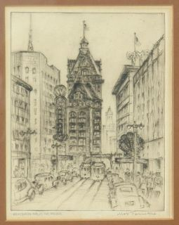 MAX FERNEKES   ETCHING   WISCONSIN AVE, MILWAUKEE