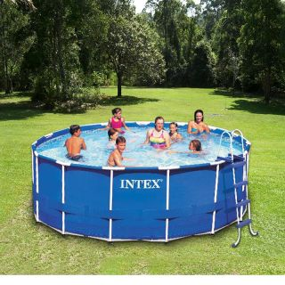 Intex 15 x 42 Metal Frame Above Ground Swimming Pool Complete Set