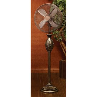 55 Tuscan Home Style Decor Fleur de Lis Decorative Standing Floor Fan