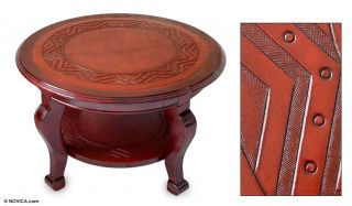 SUN Artist Hand Tooled Leather CEDAR & MOHENA Wood COFFEE ACCENT Table