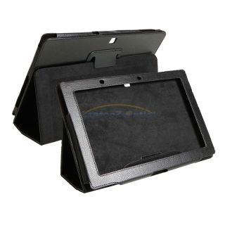 Leather Cover Case Stand for 10.1 Acer Iconia Tab A510/A700 Black