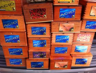 Acid Wooden Cigar Box Large Lot of 21 Assorted
